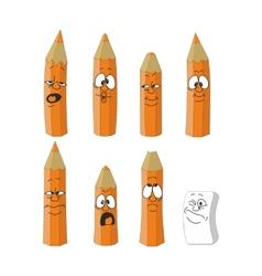 Cartoon emotional orange pencils set color 14 vector image