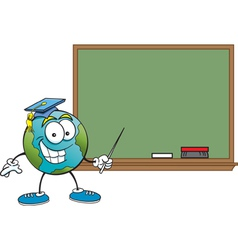 Cartoon Globe with a Blackboard vector