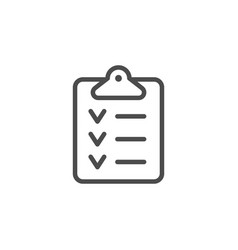 checklist approval line outline icon vector image