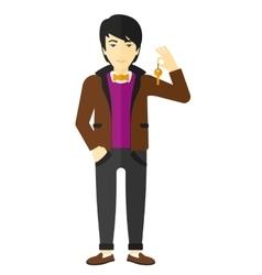 Cheerful man holding keys vector