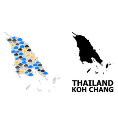 Climate collage map koh chang vector