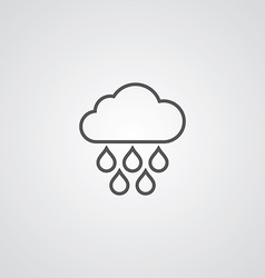 cloud rain outline symbol dark on white background vector image