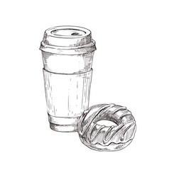 Coffee cup drink and donut vector
