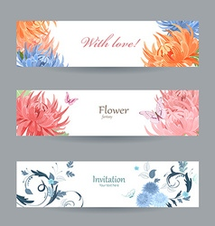 collection horizontal banners with chrysanthemums vector image