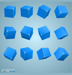 Colored cubes 3d art object vector