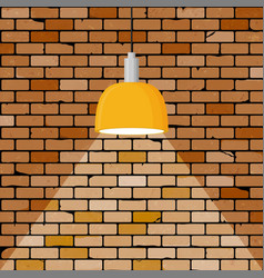 colorful brick wall illuminated by hanging lamp vector image
