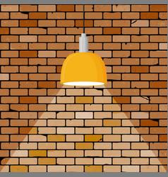 Colorful brick wall illuminated hanging lamp vector