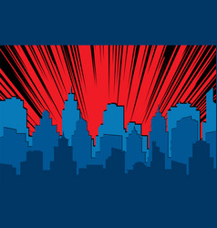 comic cityscape retro urban silhouette city vector image