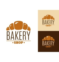 Croissant bakery emblem or logo vector image