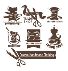 custom handmade clothing scissors and thread vector image