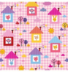cute baby animals in houses kids pattern vector image