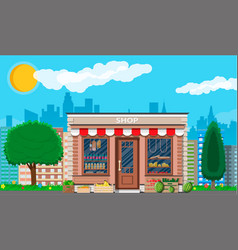 Daily products shop in city vector