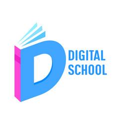 Digital school isometric banner book or textbook vector