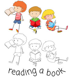 Doodle children reading a book vector