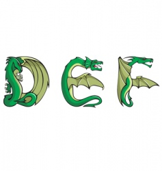 Dragons alphabet def vector