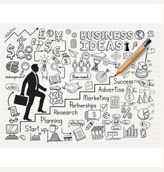 drawing businessman idea doodles icons vector image
