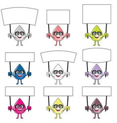 drop cartoon set with card in hands vector image