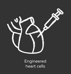 Engineered heart cells chalk icon human vector