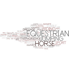 Equestrian word cloud concept vector