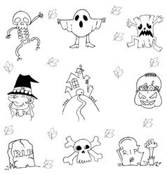 Flat halloween hand draw in doodle vector
