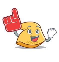 Foam finger fortune cookie mascot cartoon vector