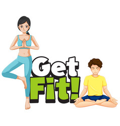 font design for word get fit with people doing vector image