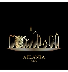 Gold silhouette of Atlanta on black background vector