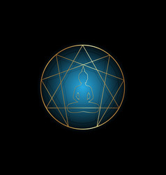 golden enneagram yoga flat icon design isolated vector image