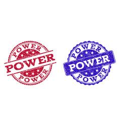 Grunge scratched power stamp seals vector