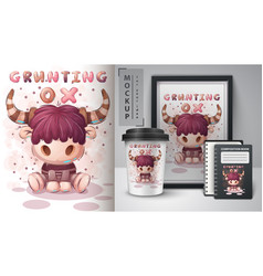 Grunting ox - poster and merchandising vector