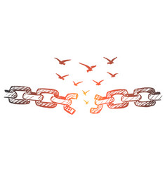 hand drawn broken chain and flock of birds over it vector image