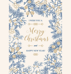 hand drawn christmas card with winter plants vector image