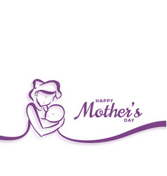 Happy mothers day mom and baby love background vector