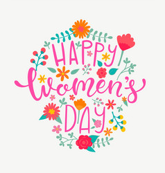 Happy womens day card handdrawn lettering vector