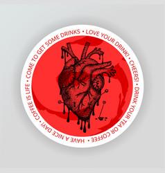 heart drink coaster vector image