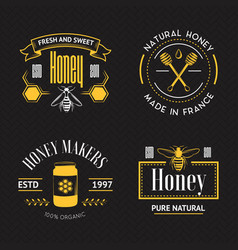 Honey vintage logo set vector