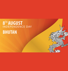 Independence day of bhutan flag and patriotic vector