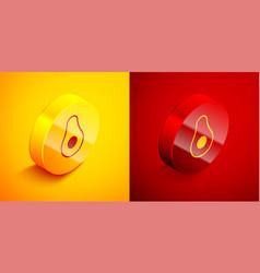 Isometric avocado fruit icon isolated on orange vector