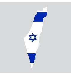 israel map painted in color flag vector image