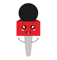 Journalism microphone comic character isolated vector