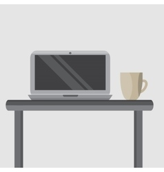 Laptop on your desktop with a cup of coffee vector