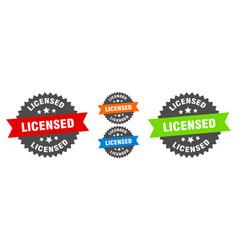 licensed sign round ribbon label set seal vector image