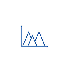 line graph mountain type line icon concept line vector image
