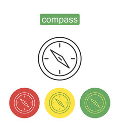 magnetic compass outline icons set vector image