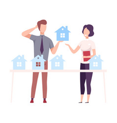 Male real estate agent offering house for sale or vector