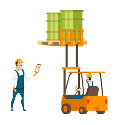 male worker character engineer in forklift car vector image
