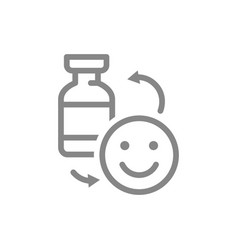 Medical ampoule and happy face line icon vector