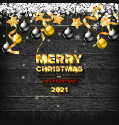 merry christmas and happy new year 2021 vector image