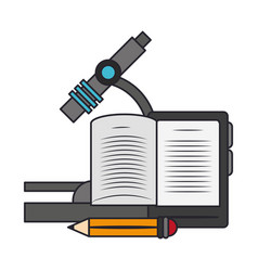 Microscope and pencil isolated icon vector