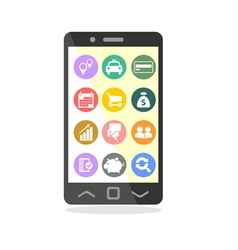 Mobile phone with business icons on screen vector image